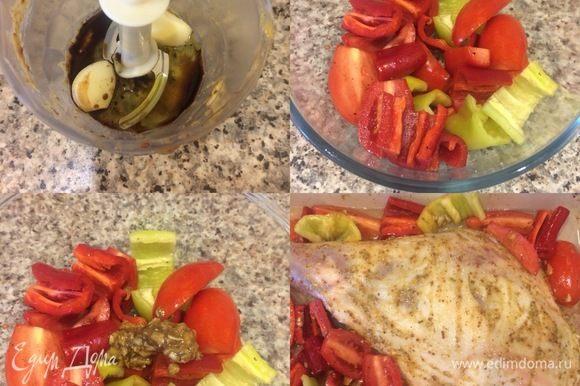Овощи крупно нарезать. В блендер положить остатки чеснока, добавить масло, уксус и пюрировать. Овощи посыпать солью, перцем и перемешать. Затем добавить чесночную массу и еще раз хорошо перемешать. Овощи добавить к мясу, полить вином и водой.