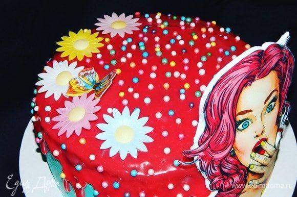 Полить холодный торт шоколадным ганашем и украсить. Оставить торт на ночь в холодильнике, что бы он хорошо пропитался.