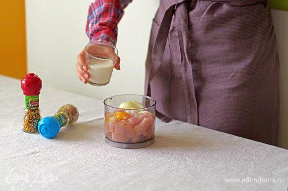 Нарежьте филе и лук, выложить в блендер.