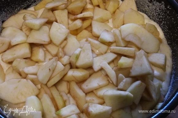 Форму (у меня разъемная диаметром 22 см) для запекания смазать маслом и посыпать манкой. Выложить половину рисовой массы. Разложить яблоки. Если яблоки слишком кислые, можно посыпать их сахаром. Забегая вперед, скажу: если вы сладкоежка, то стоит увеличить количество сахара, потому что запеканка получается не очень сладкой.
