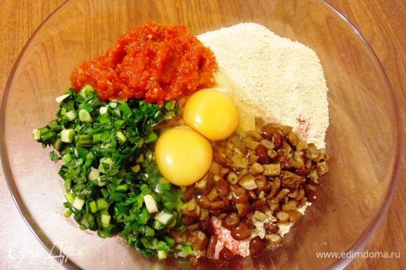 Добавить к мясному фаршу зеленый лук, нарезанные опята, яйца, томатную пассату, молотые сухари, соль и перец.