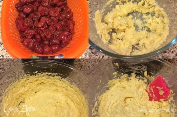 Все продукты должны быть комнатной температуры. Духовку нагреть до 180°C. Из вишни достать косточки и откинуть на дуршлаг. В миске взбить масло с сахаром и ванильным сахаром. Затем добавить яйца по одному и хорошо взбить. Муку просеять с разрыхлителем и солью. В яично-масляную массу добавить муку и хорошо взбить.
