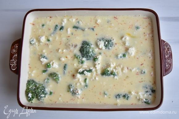 Смешать яйца с молоком и мукой. Взбить венчиком, чтобы не было комочков, и влить поверх овощей. Немного постучать формой о поверхность столешницы, чтобы смесь равномерно распределилась. Запекать в духовке, разогретой до 180°C, 40–45 минут. Чтобы верх запеканки не сильно подрумянился, желательно на первые 20 минут накрыть запеканку фольгой.