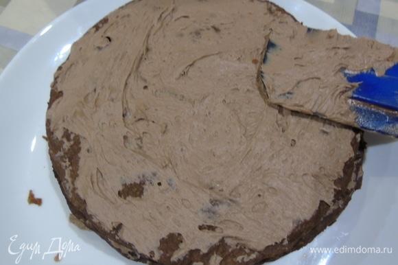 Смажьте все коржи и бока торта.