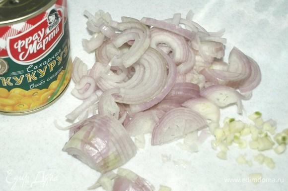 Пока готовится капуста, лук-шалот и чеснок очистить. Мелко порубить. Обжарить 1–2 минуты в сковороде с добавлением растительного масла.
