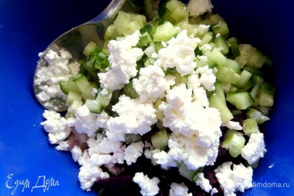 Добавить в состав нарезанные овощи и творог.