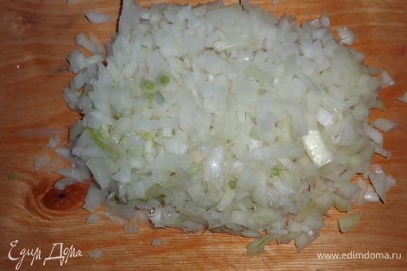 Луковицу почистить, помыть, нарезать мелкими кубиками.