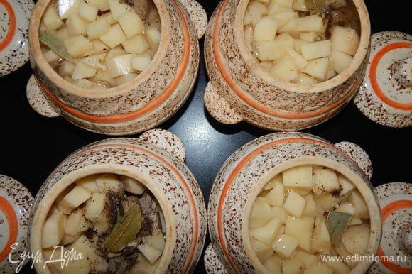 Добавляем в каждый горшочек соль, черный перец, гвоздику и маленький лавровый лист. Заливаем горшочки бульоном, который остался после варки мяса, если надо, доливаем воду и ставим в разогретую до 180°C духовку. Первые 45 минут готовим горшочки под закрытой крышкой, вторые 45 минут — без крышки.