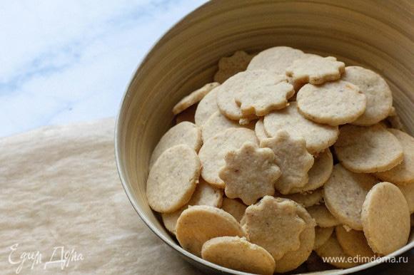 Выпекать в разогретой до 160°C духовке 10 минут, не более. Достать печенье, сначала оно будет очень мягким, а после остывания затвердеет, но сухим быть не должно.