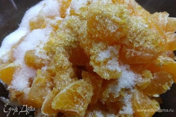 Перемешиваем с 1 ст. л. сахара и желатина.