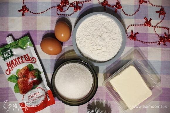 Для приготовления печенья подготовим необходимые ингредиенты: масло, сахар, яйца, муку, джем ТМ «Махеевъ», разрыхлитель, соль.