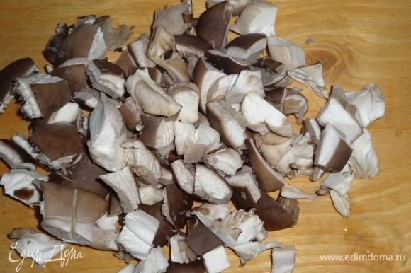 Вешенки вымыть, обтереть полотенцем. Нарезать грибы средними кусочками.