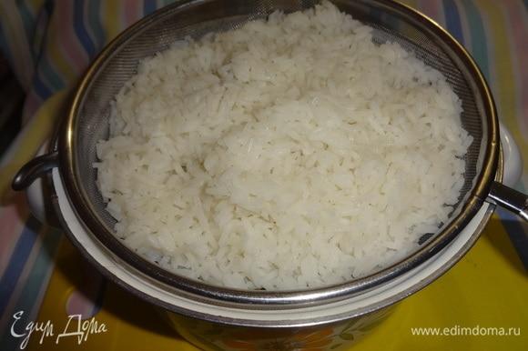 Рис откинуть на дуршлаг, дать полностью стечь воде и остудить до комнатной температуры.