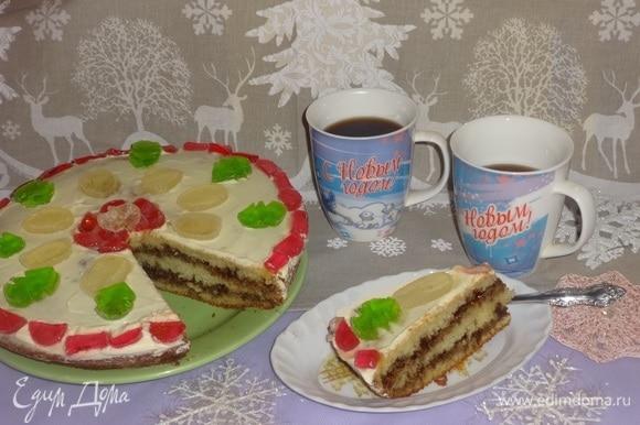 Разрезать манник на порции и подать к столу. Угощайтесь! Приятного чаепития! С наступающим Новым годом! Радости, счастья и благополучия!
