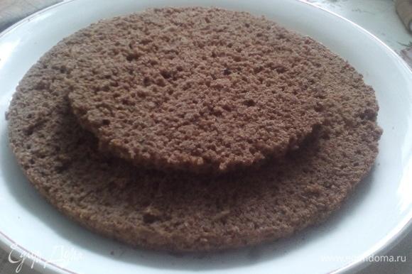 Шоколадный бисквит разрезаем на 2 части, сразу вырезаем 2 ярус диаметром 16 см.