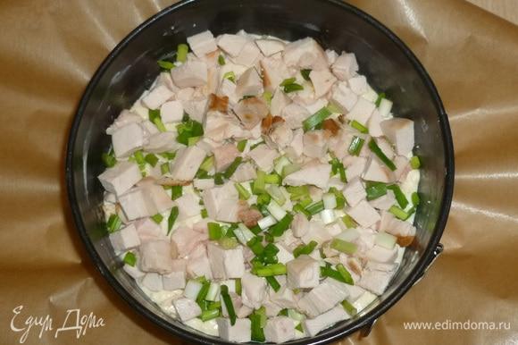 Дно формы застелить пергаментом, бортики смазать маслом. Выложить половину теста. На тесто выложить курицу и зелень.