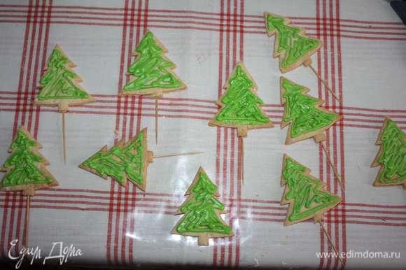 Готовые елочки и звездочки украсить сахарной глазурью (приготовить согласно инструкции на упаковке), глазурь окрасить в желаемый цвет.