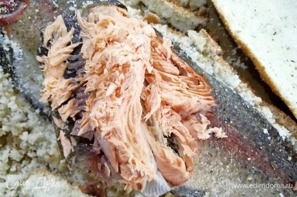 Вот такая нежная сочная ароматная рыба внутри.