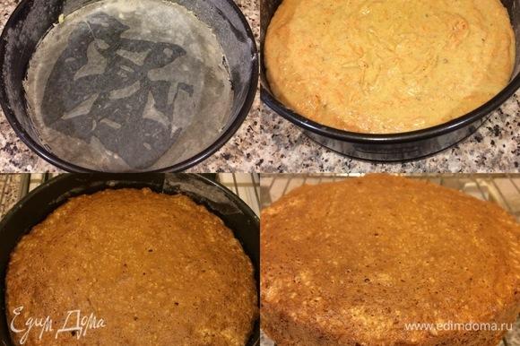 Бока формы диаметром 20 см смазать маслом и посыпать мукой, а низ проложить круглым отрезом бумаги для выпечки. Переложить тесто в форму, разровнять и выпекать 30 минут при 160°C, затем увеличить температуру до 180°C и выпекать еще 15–20 минут до «сухой спички». Готовый пирог достать и остудить на решетке.