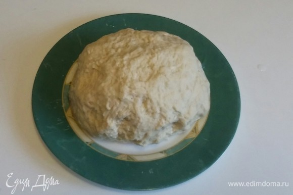 Получается вот такой шар из теста, который хорошо отстает от стенок емкости и от рук. Кладем тесто в холодильник на 30 минут.