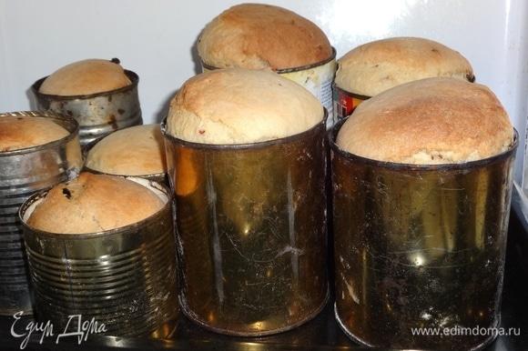 Готовые куличи достать из духовки. Постараться сразу же вынуть куличи из формочек, потому что они будут остывать и в металлических формах «мокреть». Остудить куличи до комнатной температуры. Общий вес выпеченных куличей — 2,667 кг.