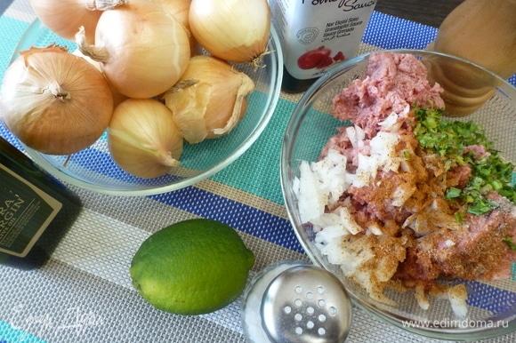 Приготовить фарш для кебабов из баранины, одной луковицы, специй. Мелко нарубить зелень и тоже добавить в фарш. Хорошо перемешать, отбить. Небольшие луковицы (10 шт.) хорошо помыть. От шелухи не чистить.