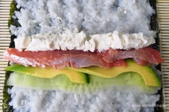 На коврик выложить лист нори пупырышками вверх. На нем, смочив руки водой, распределить рис. Далее выкладываем начинку. В первом случае это огурец, авокадо, красная рыба и творожный сыр.