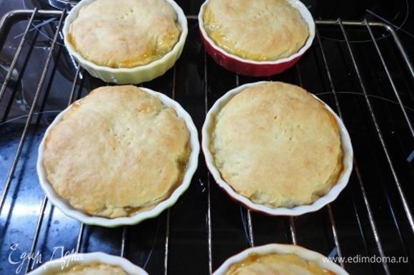 Выпекать пироги в духовке 25 мин при 200°C.