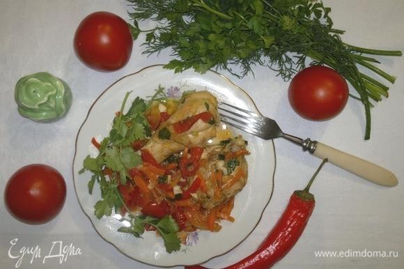 Сочная ароматная курица по-абхазски готова.