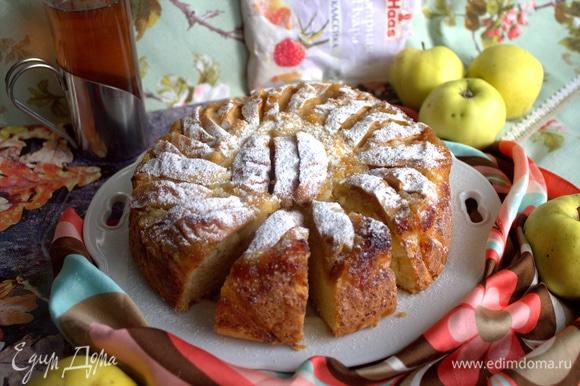 Делится на порции хорошо, пирог очень мягкий.