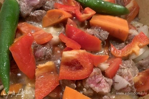 Говяжью мякоть нарезать кубиками или соломкой. В кастрюлю с толстым дном наливаю оливковое масло, кладу лавровый лист, чеснок. Как только пойдет аромат, кладу говядину, слегка поджариваю. Нарезаю лук, томаты, перец, морковь, перец чили. В мясо добавляю вино, соль. Затем кладу лук, хорошо мешаю, тушу минут 5. Далее кладу все остальные овощи, томатную пасту, накрываю крышкой, тушу 2 часа. Можно поставить мясо в духовку, так же на 2 часа.