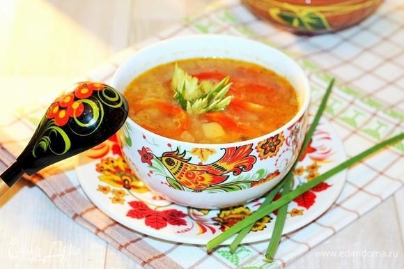 Чтобы суп был сытнее, можно добавить яйцо. Взбиваем яйцо и тонкой струйкой при быстром помешивании вливаем в кипящий суп. Даем супу настояться под крышкой минут 15 и подаем со сметаной, украсив петрушкой. Без добавления яйца, сметаны суп тоже очень вкусный, и блюдо подходит для поста. Приятного аппетита!