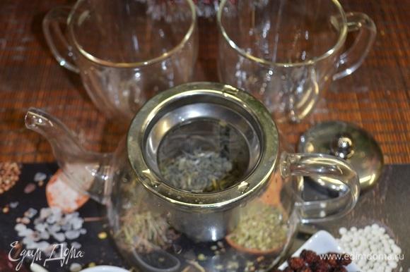 Я кекс подаю с чаем. У меня зеленые листья чая. Добавляем ягодки боярышника, заливаем кипятком, настаиваем и наслаждаемся прекрасным ароматом чая и вкусом лимонного кекса.