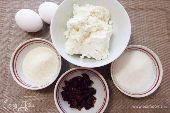 Основные продукты для приготовления творожного пудинга: творог, манная крупа, яйца, сахар и вяленая клюква (по желанию можно заменить на изюм, вяленую вишню и т. д.).