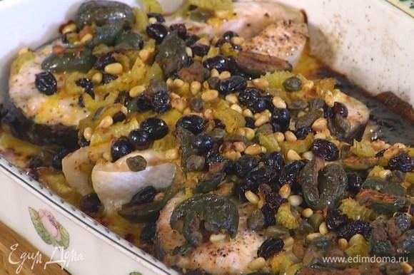 Запекать рыбу в разогретой духовке 15 минут, главное — не пересушить!