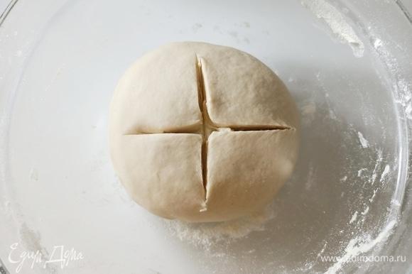 Дрожжи развести в теплой воде, добавить к муке и перемешать. Добавить соль и оливковое масло, вымесить гладкое эластичное тесто. Переложить в глубокую миску, накрыть пищевой пленкой и поставить в теплое место на 2 часа.