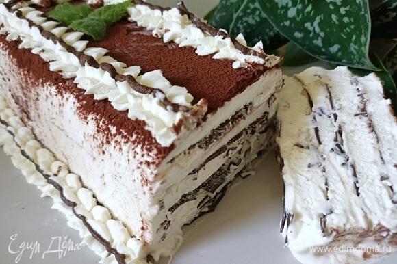 Готовое мороженое перевернуть на блюдо, посыпать какао и украсить кремом. Приятного аппетита!