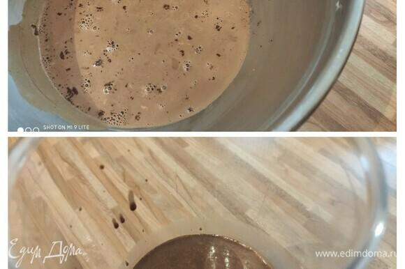 Пока печется чиз, приготовьте шоколадный мокка-мусс, так как ему тоже придется провести ночь в холодильнике. Мелко нарежьте шоколад. Сливки нагрейте и вмешайте в них какао и растворимый кофе. Залейте горячей смесью шоколад. Дайте постоять 1 минуту, тщательно перемешайте и поставьте на ночь в холодильник.