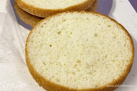 Яйца и сахар взбить миксером, пока масса не побелеет и не увеличится втрое. Смешать муку, крахмал и разрыхлитель. В 3–4 приема аккуратно просеять в яичную смесь. Смешать снизу вверх. Тесто выливаем в форму, застеленную пергаментом, и выпекаем при 160°C около 50 минут. Или до пробы на сухую палочку.