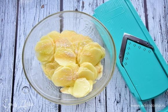 Картофель очистить от кожуры и нарезать тонкими слайсами при помощи специальной терки. Посолить, добавить чесночный порошок и растительное масло. Перемешать.