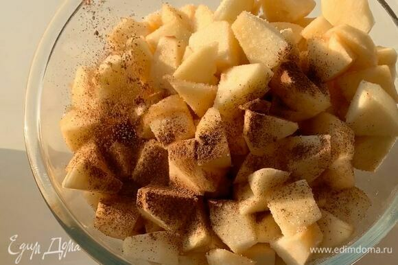 Яблоки промойте, очистите от кожуры, удалите семечки. Разрежьте на небольшие кусочки. Добавьте сахар и корицу, хорошо перемешайте.