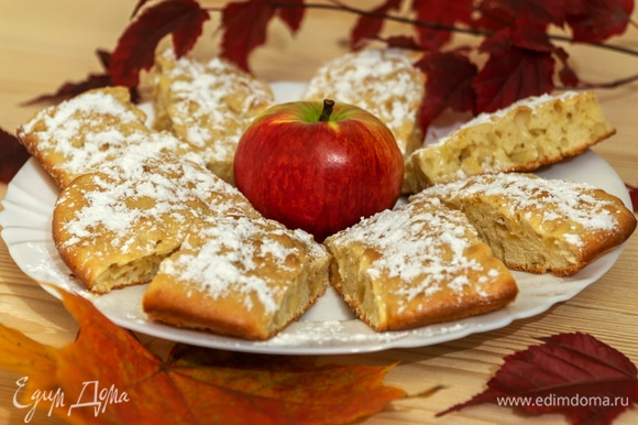 Горячее яблочное печенье посыпьте сверху сахарной пудрой и подавайте с любимыми горячими напитками. Наслаждайтесь!