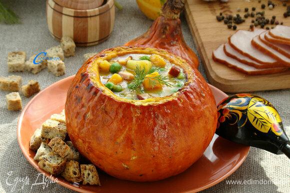 Вот и все, вкусный и ароматный тыквенно-гороховый суп готов.