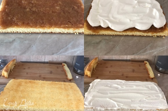Переложить одну половину бисквита на блюдо, смазать яблочным пюре и сверху распределить половину крема. Затем накрыть второй половиной бисквита и смазать верх и бока оставшимся кремом.