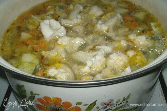 Положить в суп цветную капусту, варить 3–4 мин.