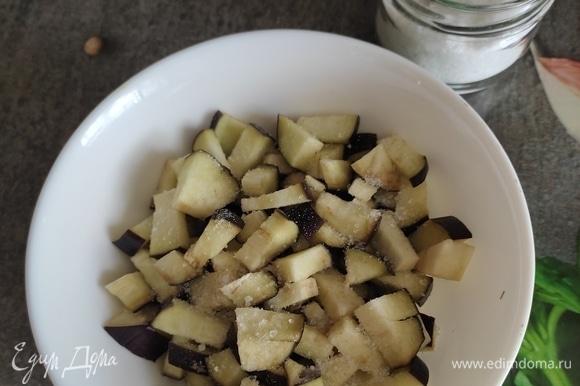 Складываем в чашку, посыпаем солью, перемешиваем и оставляем на 10 минут. Затем аккуратно отжимаем от выделившейся жидкости и обжариваем 5–7 минут на растительном масле.