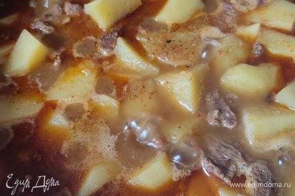 Картофель очистить и нарезать крупными дольками. Добавить его к мясу, влить 500 мл воды. Посолить по вкусу и тушить еще примерно 40 минут.