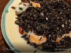 Салат из дикого риса с креветками