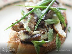 Омлет с грибами и куриной печенкой