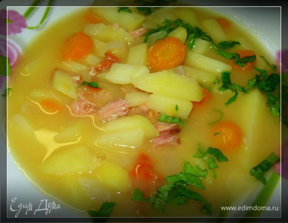 Суп гороховый двойной с копченостями в скороварке